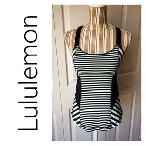 Lululemon Work it Out mint/black striped tank
